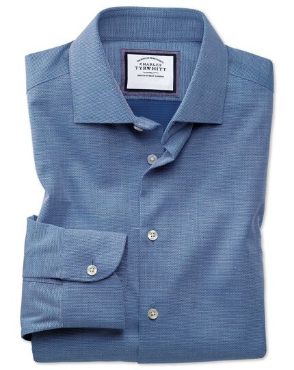 Classic fit semi-spread collar business casual non-iron modern textures royal blue honeycomb shirt