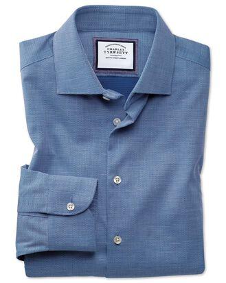 Chemise business casual bleu roi extra slim fit avec textures modernes sans repassage