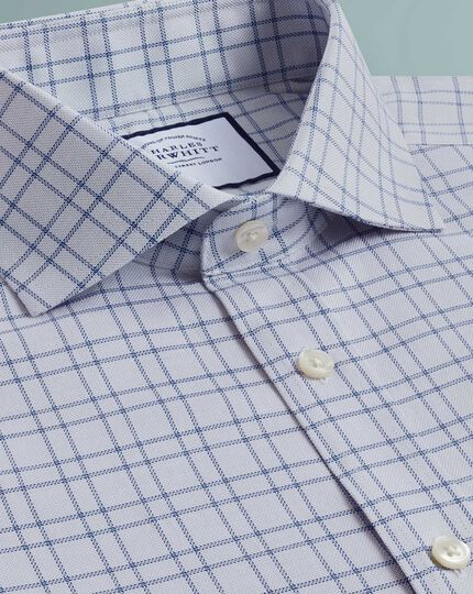 Slim fit textured check grey shirt
