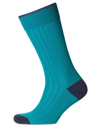 Rippstrick-Baumwollsocken in Aquamarin