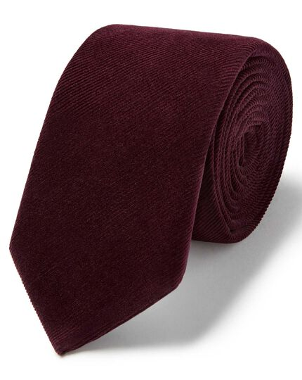 Burgundy cotton cord plain slim tie