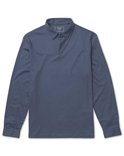 Airforce blue long sleeve jersey polo