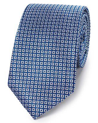 Klassische Krawatte aus Seide mit quadratischem Gittermuster in Königsblau