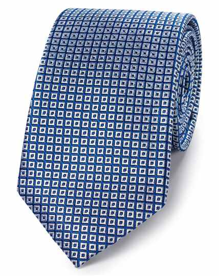 Royal blue and silk square lattice classic tie