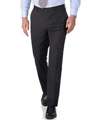 Charcoal slim fit end-on-end business suit pants