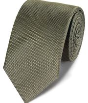 Olive silk plain classic tie ss19
