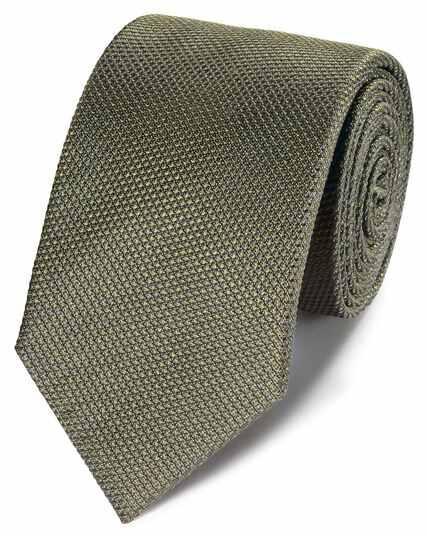 Olive silk plain classic tie