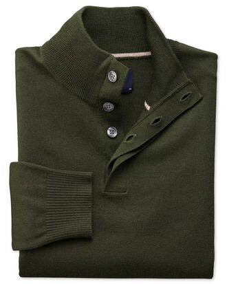 Dark green merino wool button neck jumper
