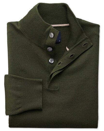 Dark green merino wool button neck sweater