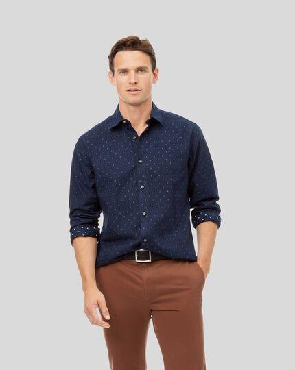 Ganzjährig tragbares strukturiertes Hemd mit Kent Kragen - Marineblau