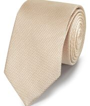 Champagne silk plain classic tie