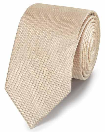 Cravate classique champagne unie en soie