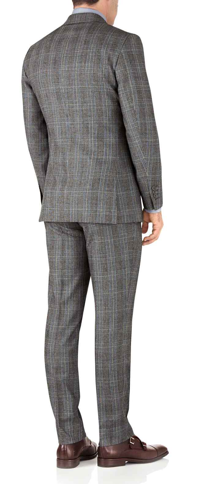 Slim Fit Business Anzug aus Flanell in Silber mit Prince-of-Wales-Karos