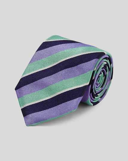 Cravate de luxe en reps de soie anglaise à rayures - Lilas et bleu marine