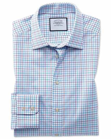 Slim fit Egyptian cotton poplin check purple and aqua shirt
