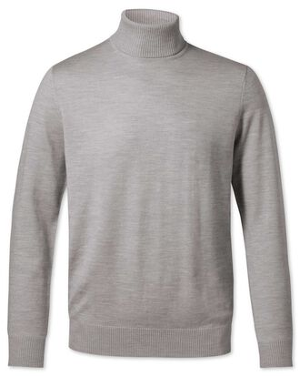 Silver roll neck merino jumper