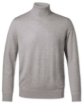 Silver roll neck merino sweater