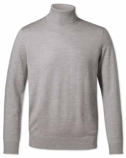 Silver roll neck merino sweater