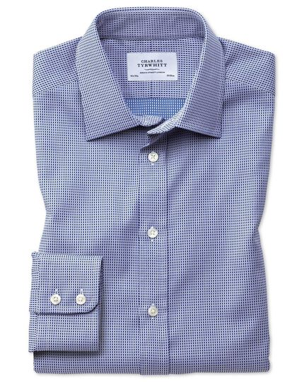 Classic fit Egyptian cotton diamond spot navy blue shirt