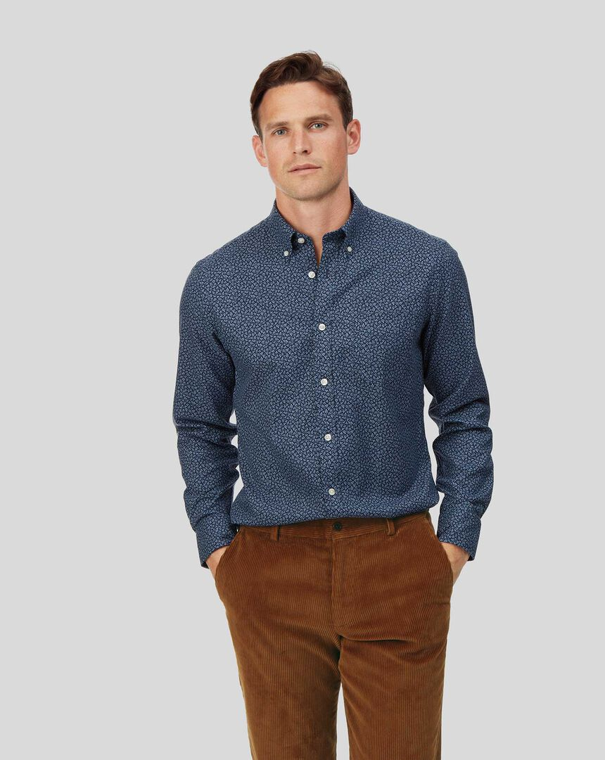 Button-Down Collar Soft Washed Non-Iron Twill Shirt - Navy