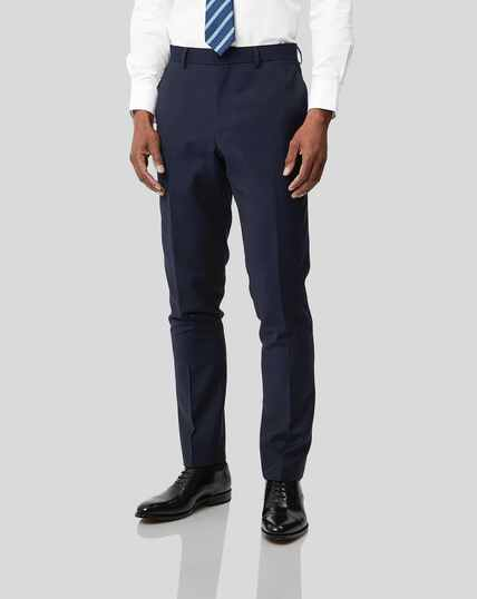 Business Suit Textured Trousers - Navy