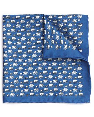 Einstecktuch mit Elefantenmuster in Blau