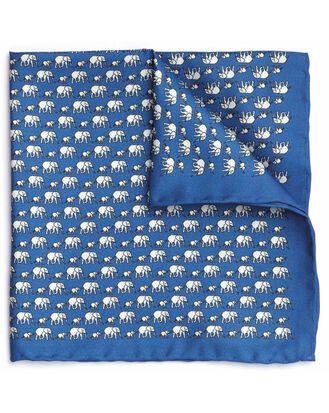 Blue elephant printed pocket square