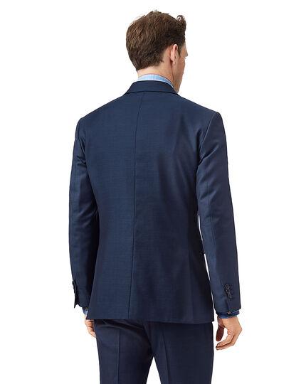 Blue slim fit twill business suit jacket