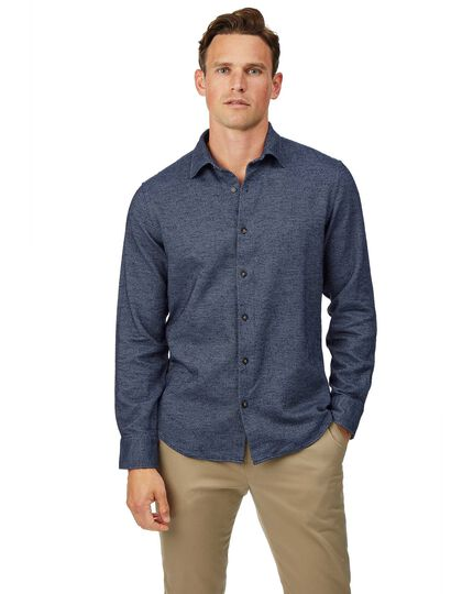 Slim fit navy semi winter flannel plain shirt
