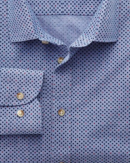 Slim fit blue and purple spot print shirt