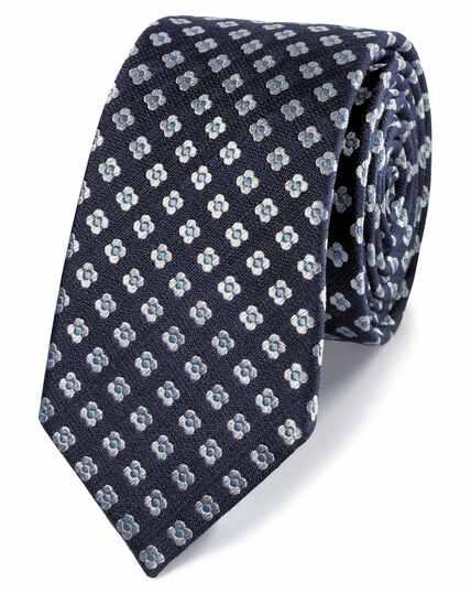 Schmale Krawatte Seide/Leinen mit Blumenmuster in Marineblau