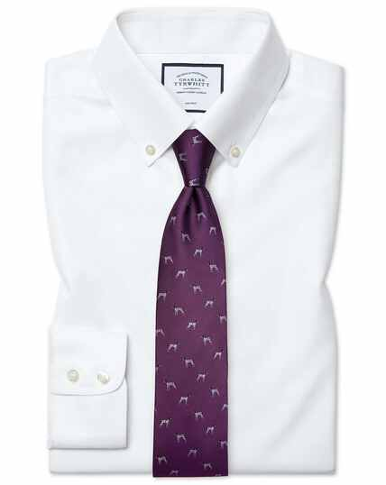 Slim fit white button-down collar non-iron twill shirt