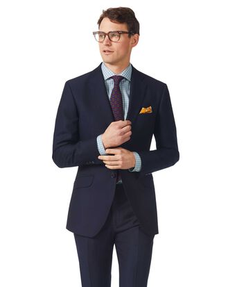 Navy slim fit textured Italian suit jacket