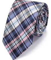 Blue and pink silk linen check classic tie