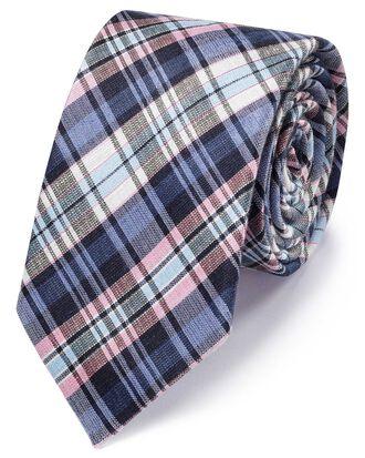 Cravate classique bleue et rose en lin et soie à carreaux