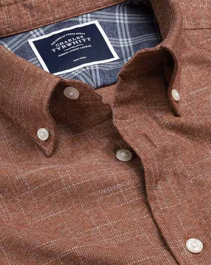 Button-Down Collar Non-Iron Twill Shirt - Burnt Orange