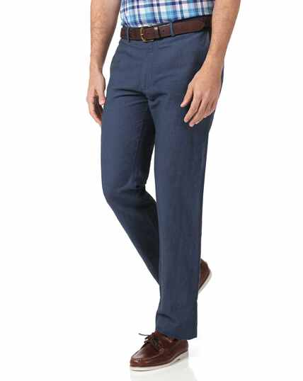 Airforce blue slim fit cotton linen trousers