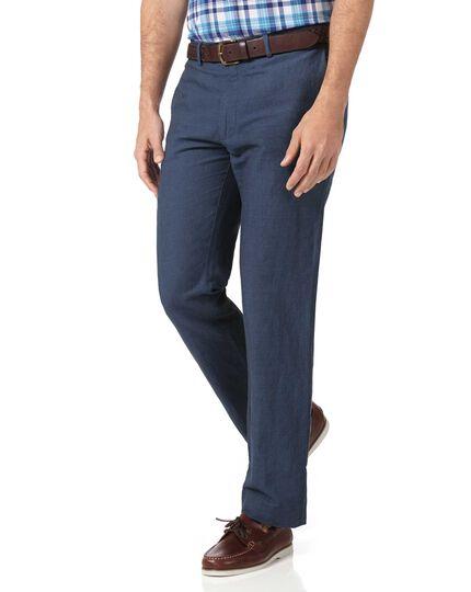 Airforce blue slim fit cotton linen pants