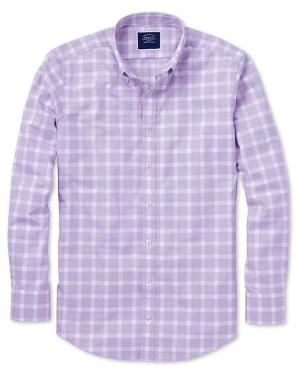 Extra slim fit lilac block check soft washed non-iron twill shirt
