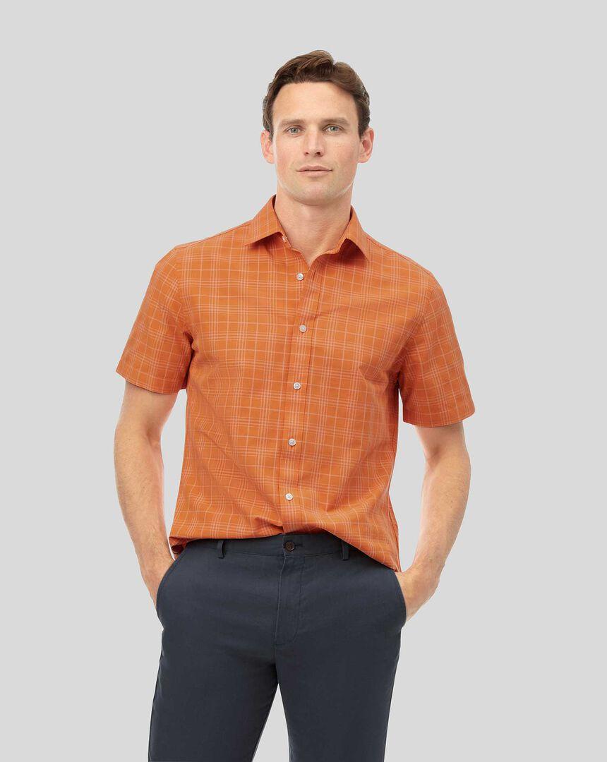 Kurzarmhemd mit Kent Kragen und Ton-in-Ton-Karos - Orange