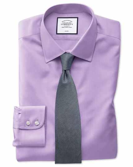 Slim fit light lilac non-iron twill shirt