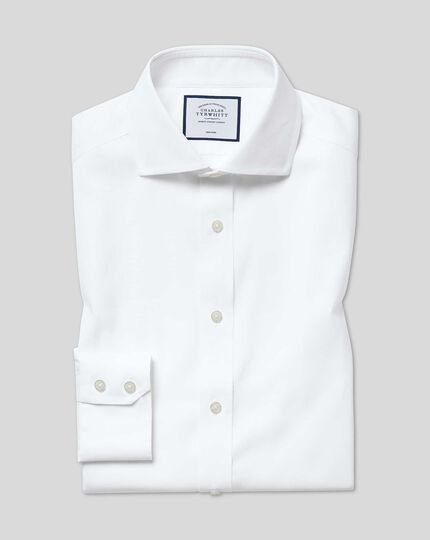 Extra slim fit spread collar non-iron cotton stretch Oxford white shirt