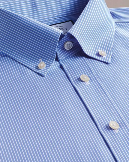 Extra slim fit button-down non-iron blue and white stripe shirt