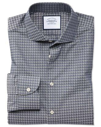 Slim fit business casual navy geometric shirt