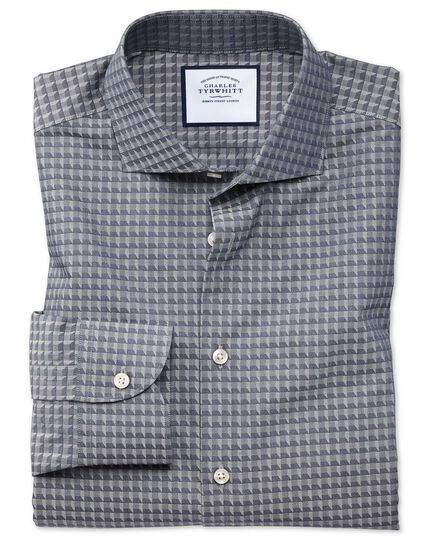 Slim fit business casual navy geometric shirt