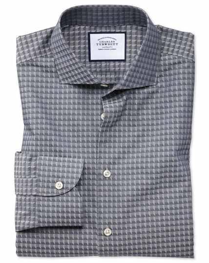 Slim Fit Business-Casual-Hemd mit geometrischem Muster in Marineblau
