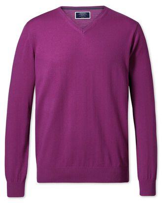 Berry merino wool v-neck jumper
