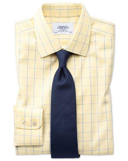 Slim fit non-iron Prince of Wales yellow and royal blue shirt