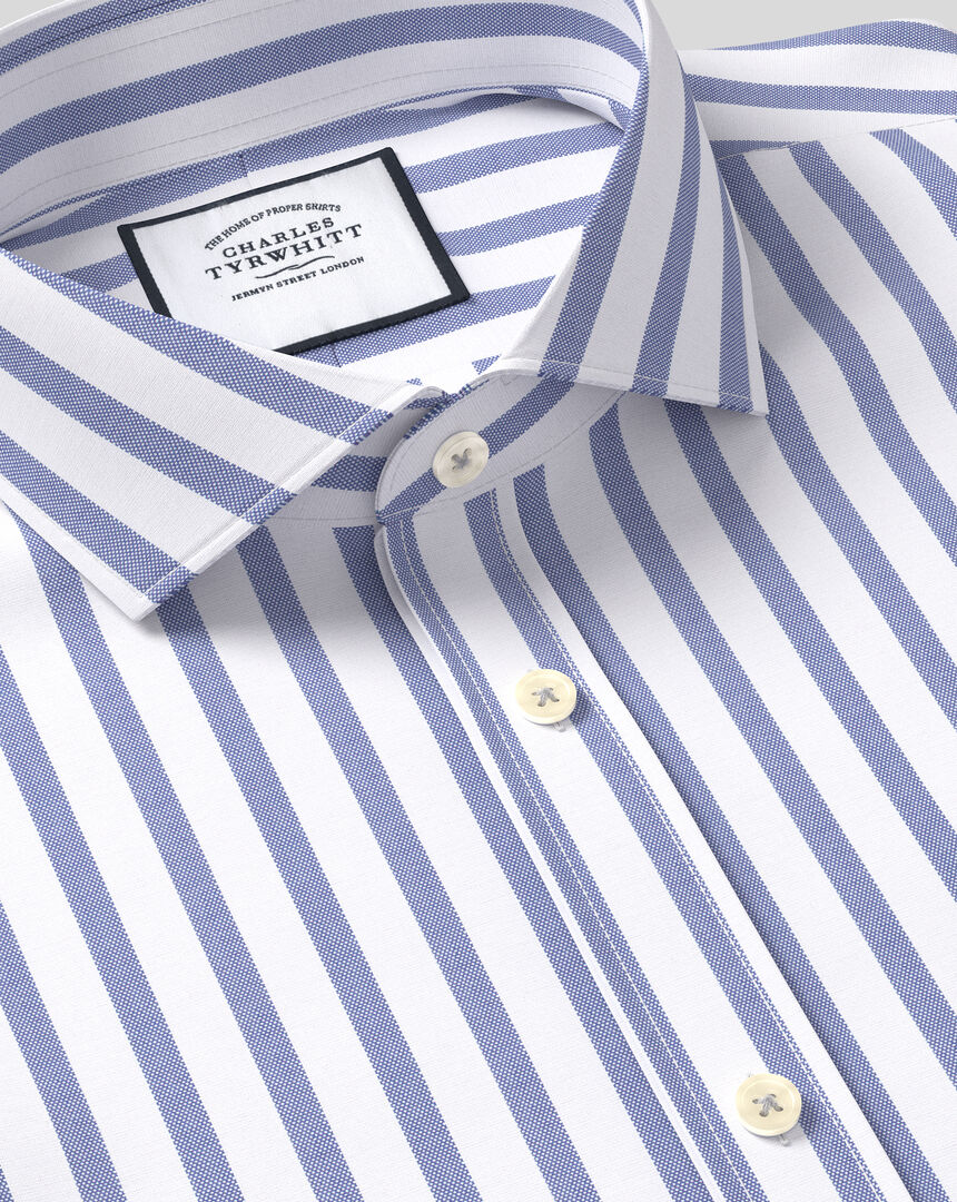 Spread Collar Cotton Stretch with TENCEL™ Stripe Shirt - Royal Blue