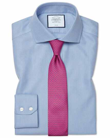 Slim fit cutaway non-iron Buckingham weave blue shirt